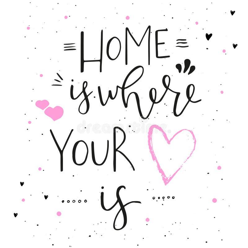 La maison est où votre coeur est - conception tirée par la main de typographie illustration de vecteur