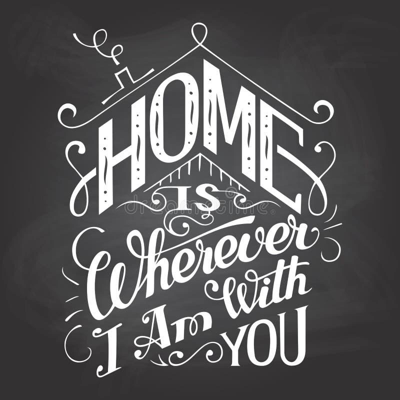 La maison est partout où je suis avec vous signe de tableau illustration stock