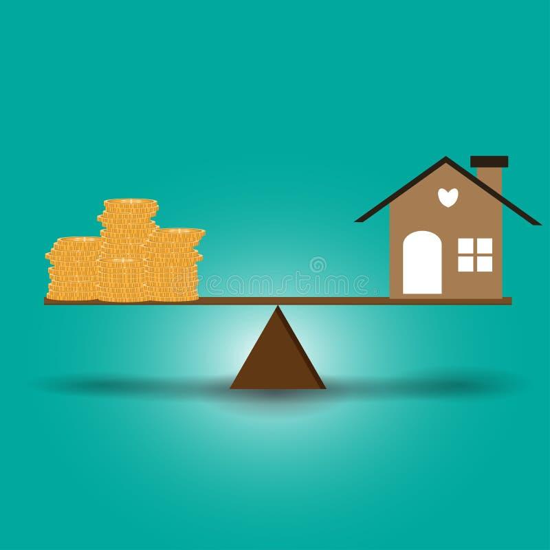 La maison et les pièces de monnaie ont mis sur les échelles avec l'équilibre mis sur le bois photos libres de droits