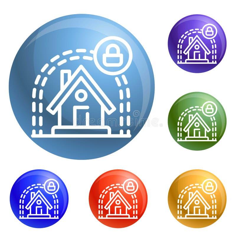 La maison futée protègent le vecteur d'ensemble d'icônes illustration stock