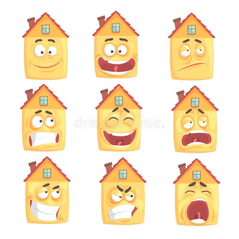 La maison humanisée par bande dessinée drôle avec avec beaucoup d'expressions a placé des illustrations de vecteur illustration stock