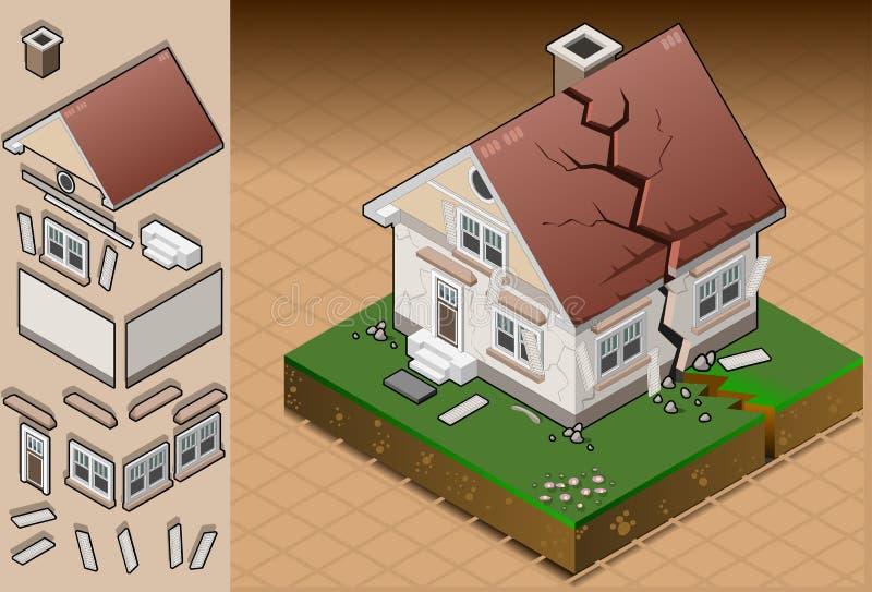 La maison isométrique a heurté par séisme illustration de vecteur