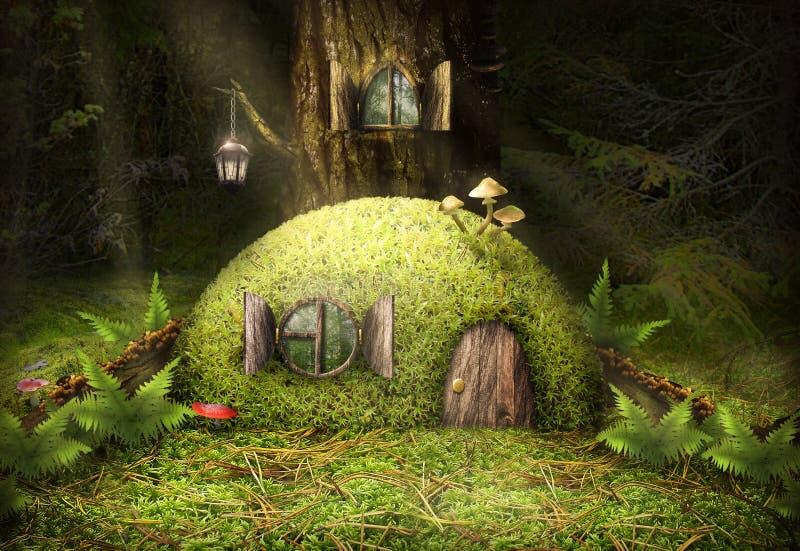 La maison magique dans les bois d'arbre de la mousse admirablement image stock