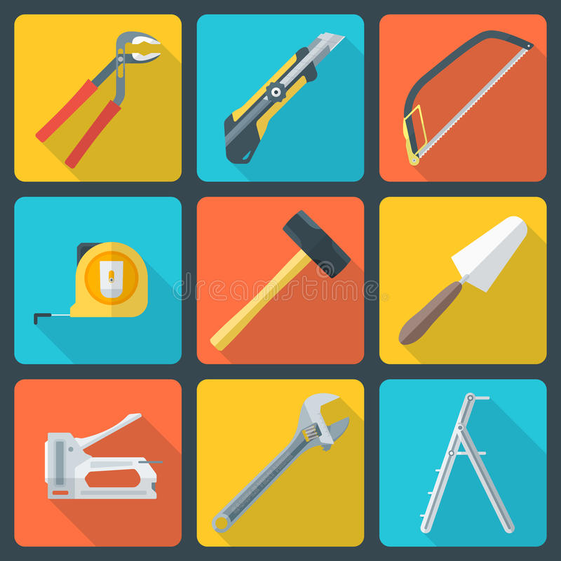 La maison plate transforment des icônes d'outils illustration libre de droits