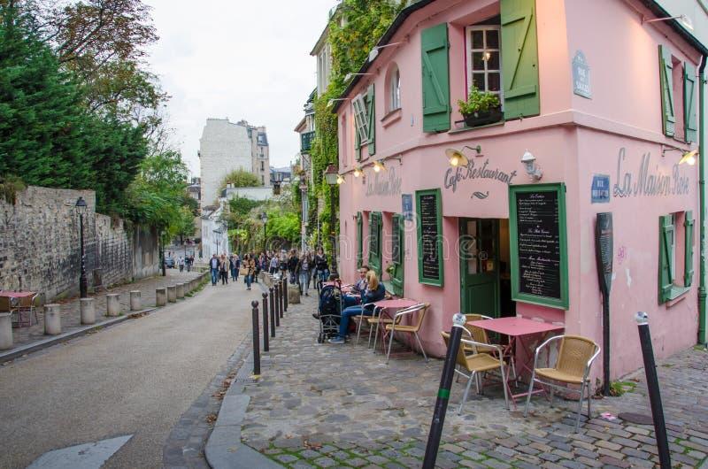 La Maison Rose Restaurant en París foto de archivo libre de regalías