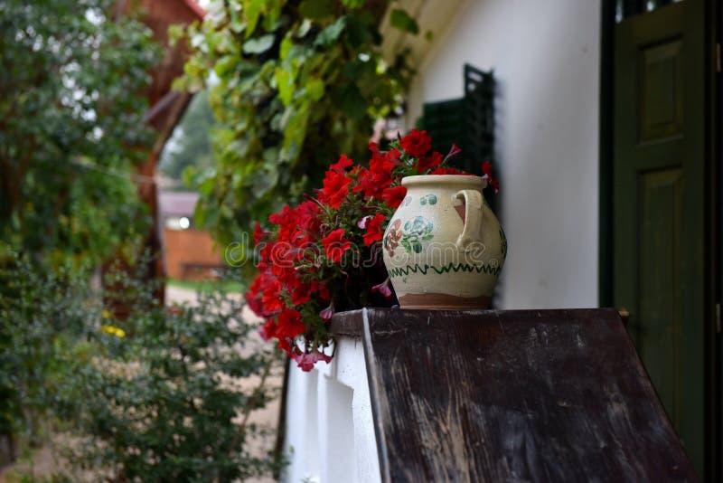 La maison rurale avec le géranium rouge fleurit dans la véranda photos libres de droits