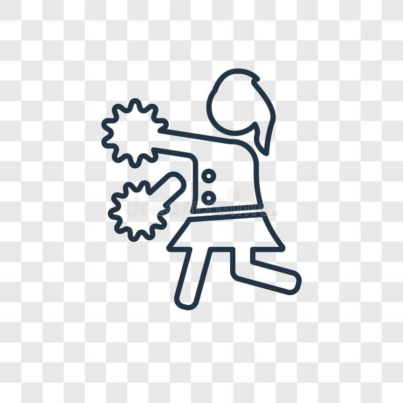La majorette de football américain sautent le vecteur de concept l'icône que linéaire est illustration de vecteur