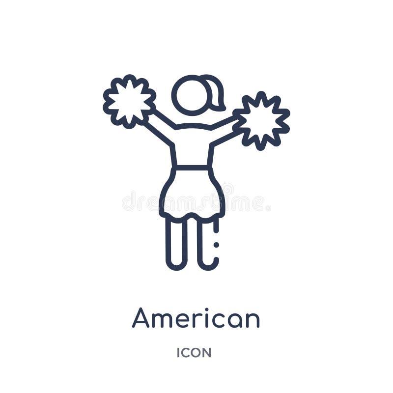 La majorette linéaire de football américain sautent l'icône de la collection d'ensemble de football américain Ligne mince majoret illustration stock
