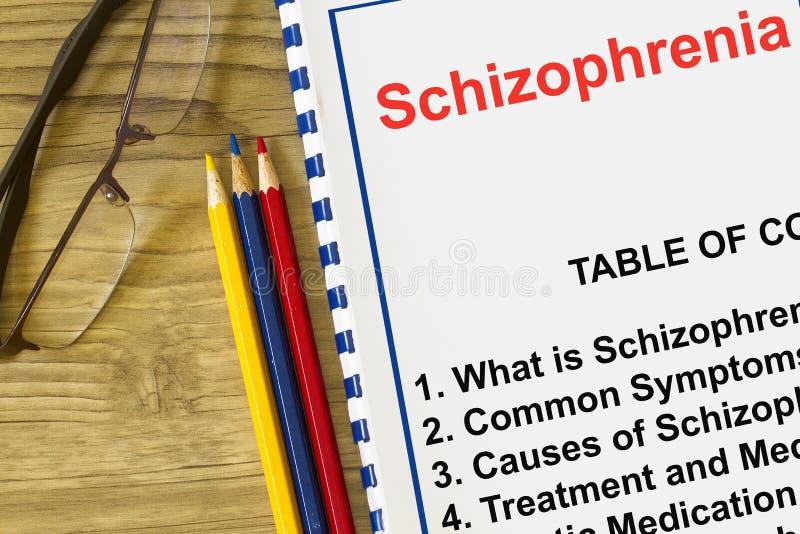 La maladie de trouble mental de schizophrénie avec le sujet relatif sur une couverture d'une conférence photographie stock