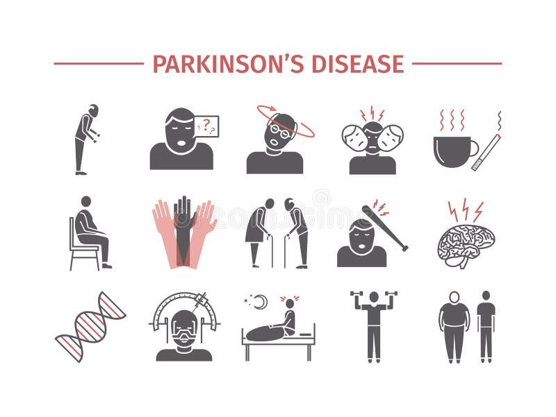 La maladie du ` s de Parkinson Symptômes, traitement Icônes plates réglées Signes de vecteur pour des graphiques de Web illustration stock