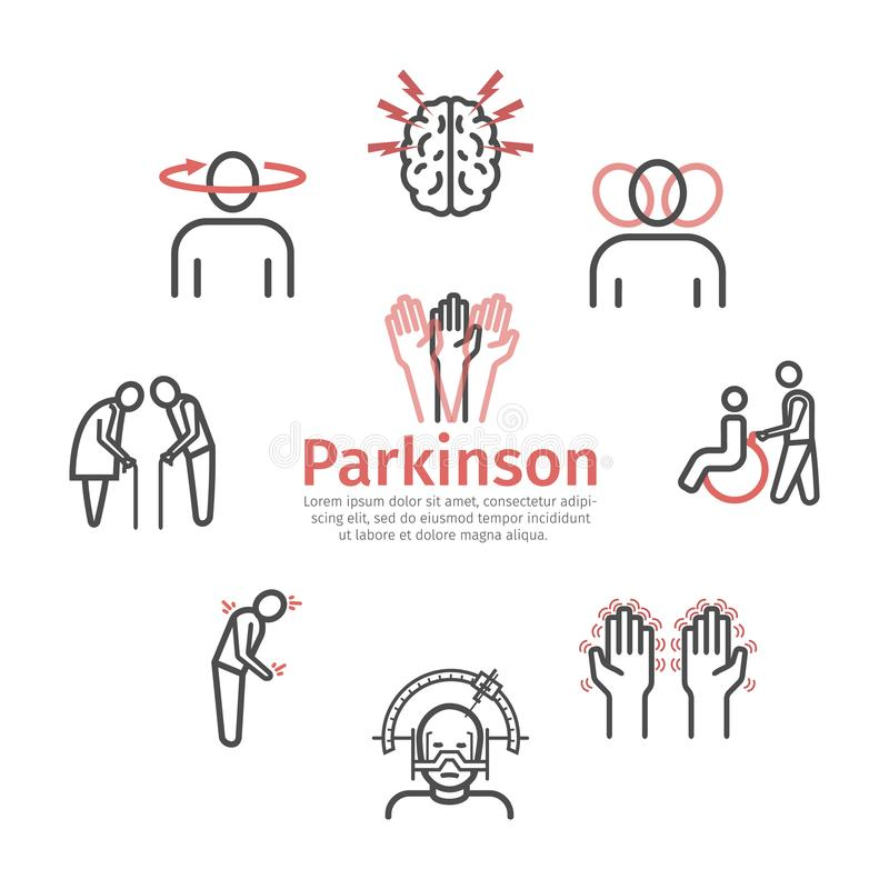 La maladie du ` s de Parkinson Sympt?mes, traitement Ligne ic?nes r?gl?es Signes de vecteur illustration libre de droits