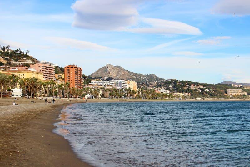 Malagueta beach, Malaga, Spain. La Malagueta beach in Malaga, Andalusia, Costa del Sol, Spain stock photography