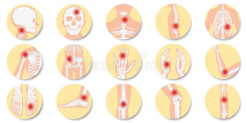 La malattia dei giunti e dell'icona delle ossa ha messo su fondo bianco illustrazione vettoriale