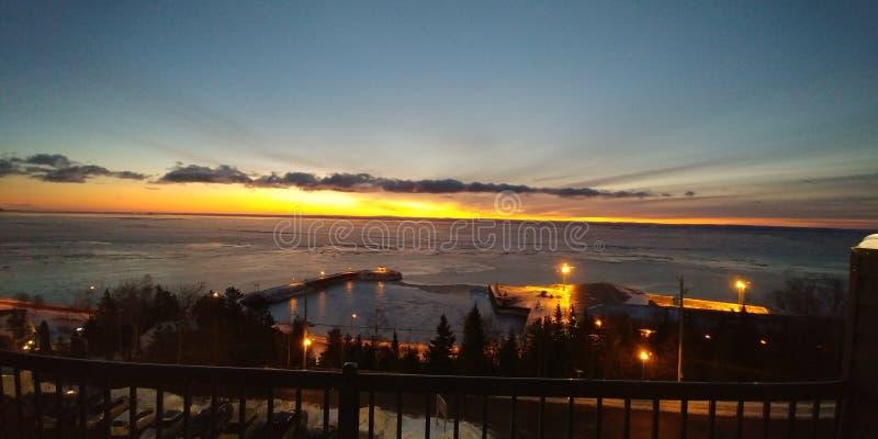 La Malbaie-Sonnenaufgang stockbild