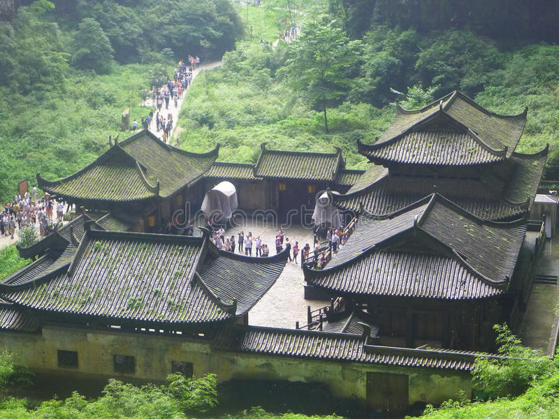 La maldición de la película de Zhang Yimou de la flor de oro fuera de la fotografía, Chongqing Wulong County, nació en tres Qiao fotos de archivo libres de regalías