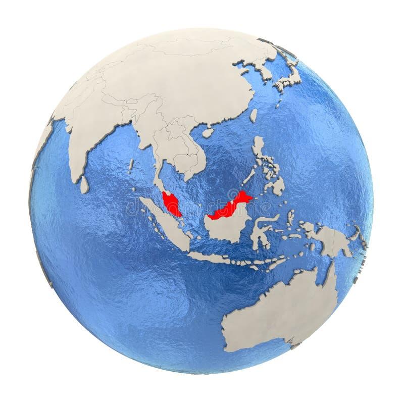 La Malesia nel rosso sul globo pieno isolato su bianco illustrazione vettoriale
