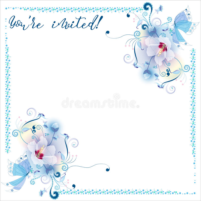 La malva delicada florece la tarjeta de la invitación ilustración del vector