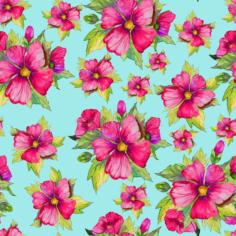 La malva rosa luminosa fiorisce con i germogli e le foglie verdi su fondo blu-chiaro Reticolo floreale senza giunte Pittura dell' royalty illustrazione gratis