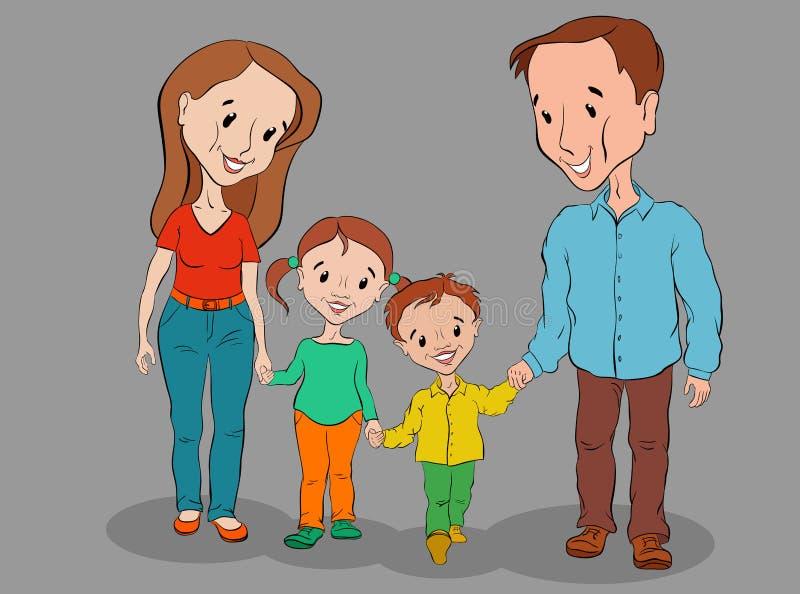 La mamá, el papá, el hijo y la hija van y sonríen fotografía de archivo