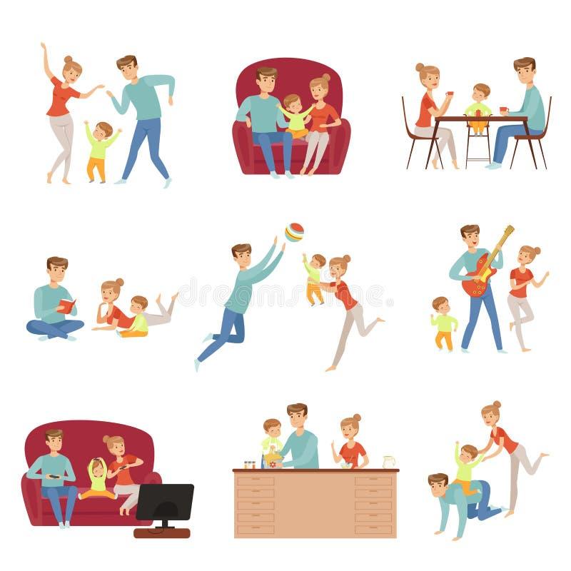 La mamá, el papá y su pequeño hijo pasando tiempo juntos fijaron, familia y ejemplo felices del vector del concepto del parenting ilustración del vector