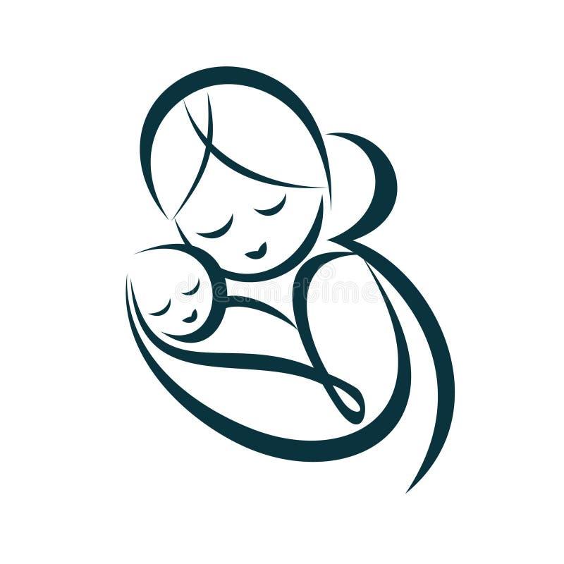 La mamá joven abraza a su bebé libre illustration