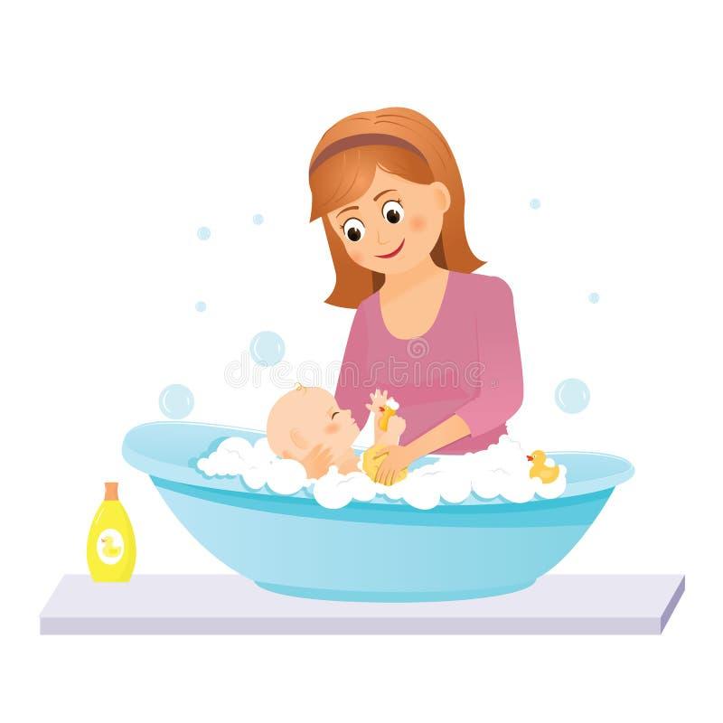 La mamá lava al bebé en el baño stock de ilustración