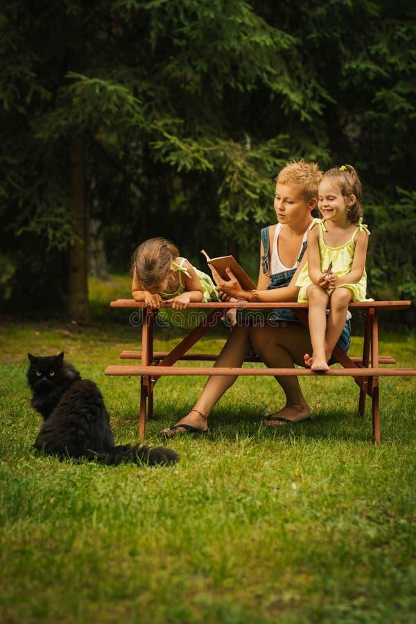 La mamá y dos hijas preciosas pasan un gran rato en el bosque del verano imagen de archivo