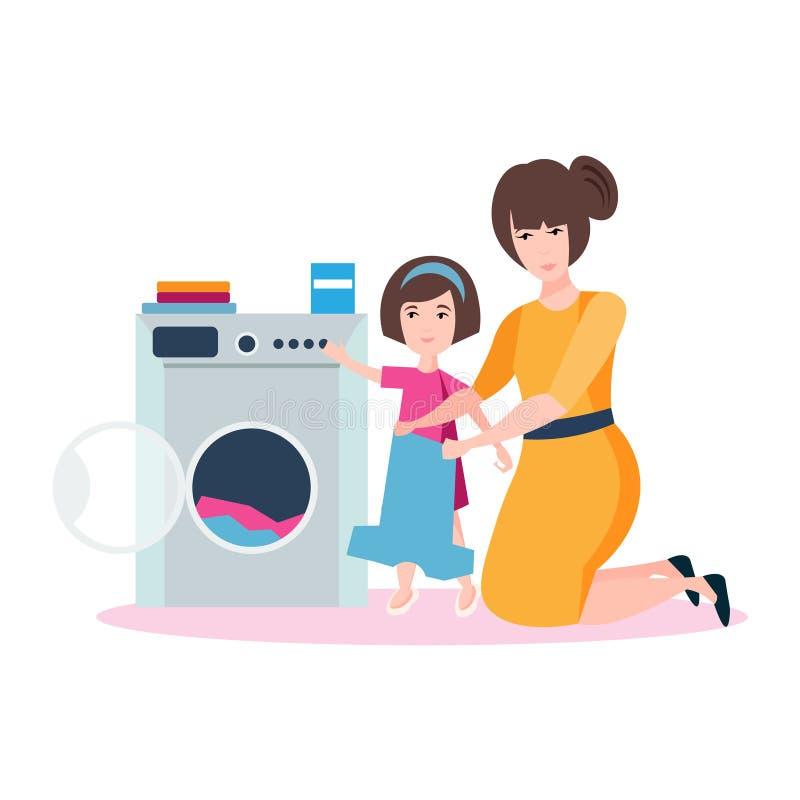 La mamá y la hija se están lavando libre illustration