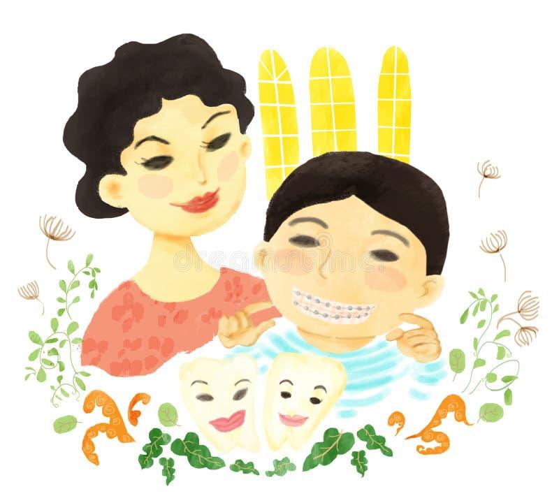 La mamá y su muchacho tienen una sonrisa fotografía de archivo libre de regalías