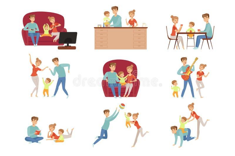 La mam?, el pap? y su peque?o hijo pasando tiempo juntos fijaron, familia y ejemplo felices del vector del concepto del parenting stock de ilustración