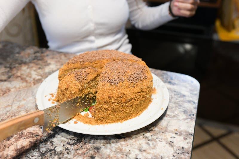 La maman coupe et sert un morceau de gâteau fraîchement cuit au four, qu'ils ont juste fait à la maison La fille a fait un gâteau image libre de droits