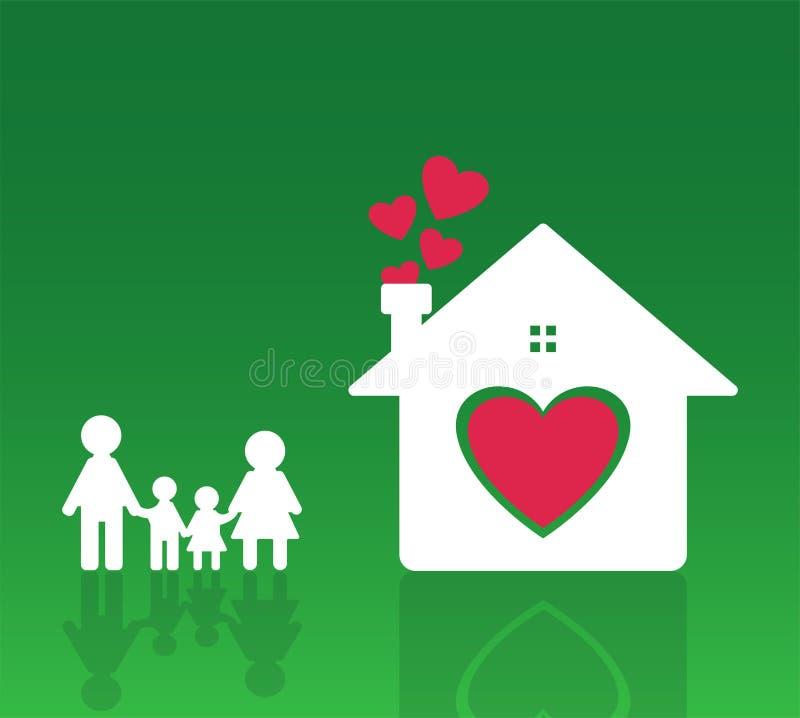 La maman et le papa heureux de famille à la maison se tiennent tenants des mains avec des garçons et des filles Coeur à la maison illustration libre de droits