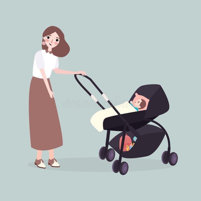 La maman marche avec une poussette avec son bébé illustration libre de droits