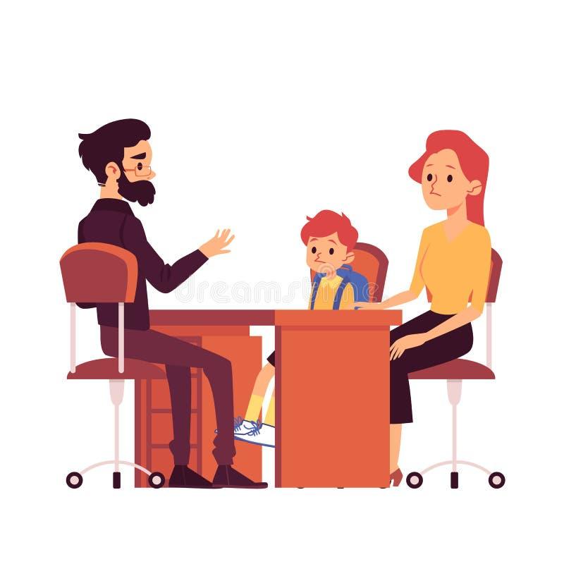 La mamma con la figlia su consultazione nell'illustrazione piana di vettore della scuola ha isolato illustrazione vettoriale