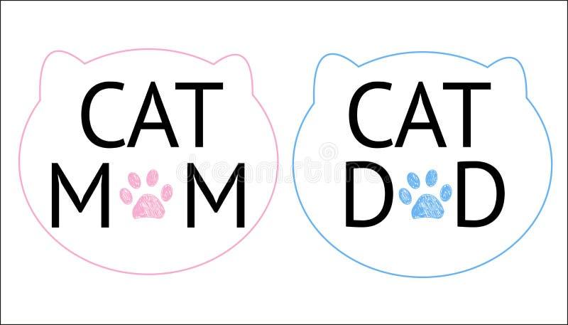 `` La mamma del gatto, il testo del papà del gatto `` ed i gatti profilano il simbolo e le stampe della zampa Blu e rosa colorati illustrazione vettoriale