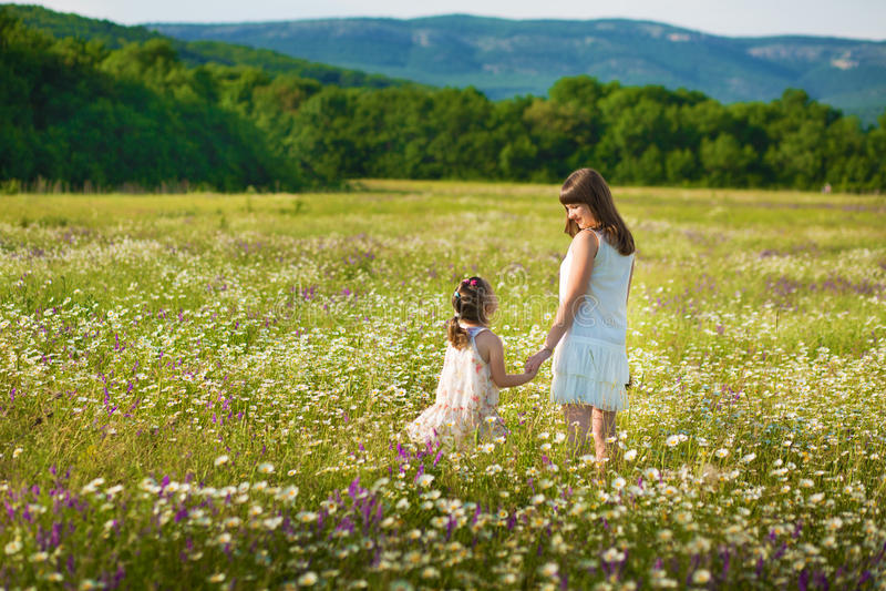 La mamma e la figlia su un picnic nella camomilla sistemano Due belle bionde in camomilla sistemano su un fondo del cavallo immagini stock libere da diritti