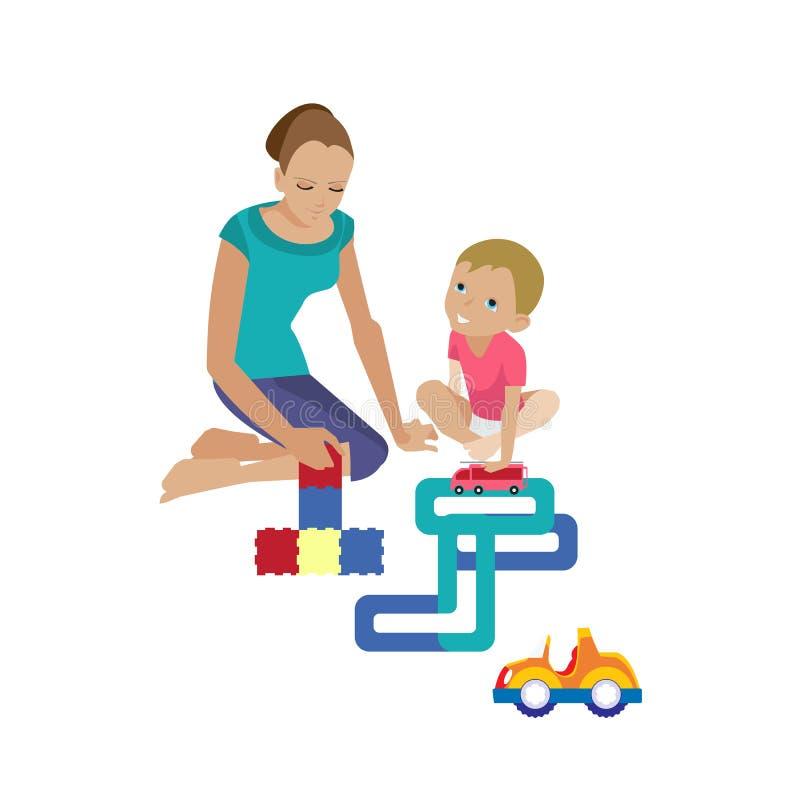 La mamma gioca con il bambino, aiutando monta il costruttore, giocante in macchine illustrazione vettoriale