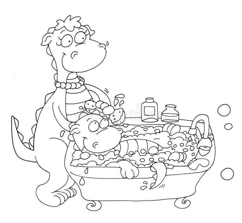 La mamma lava la piccola coloritura della lombata del drago per i bambini per i libri e consigli scolastici e descrizione di inse royalty illustrazione gratis