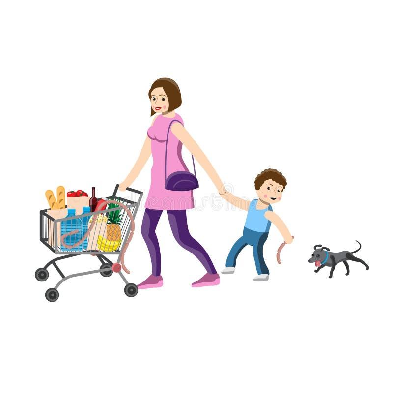 La mamma tiene la mano del bambino, spingente il carretto con i prodotti, il bambino prende in giro il cane Illustrazione di vett royalty illustrazione gratis