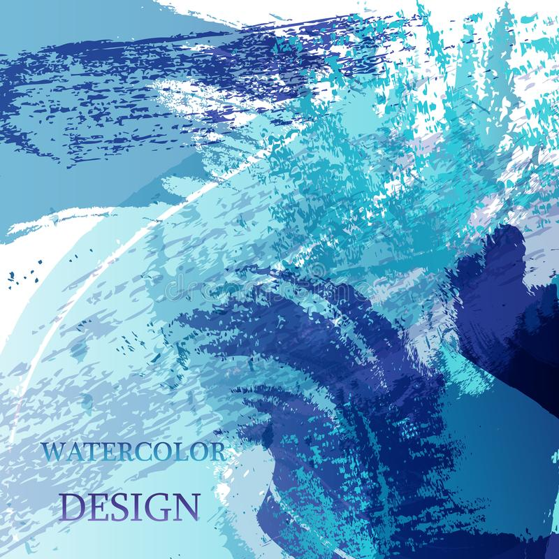 La mancha abstracta colorida de la textura de la acuarela con salpica Fondo creativo moderno de la acuarela para el diseño de mod ilustración del vector