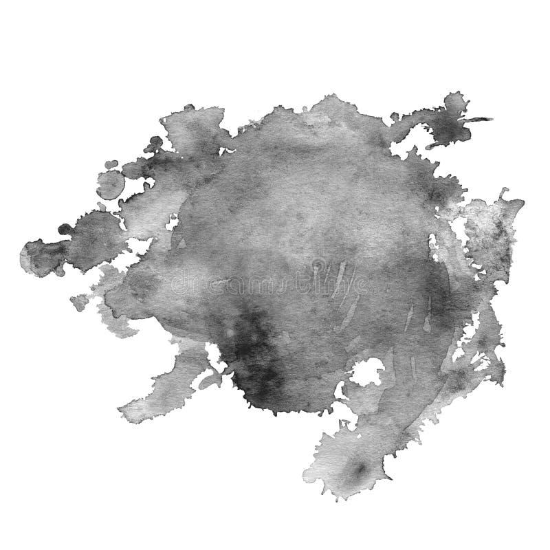 La mancha de la acuarela del gris con salpica y mancha ilustración del vector