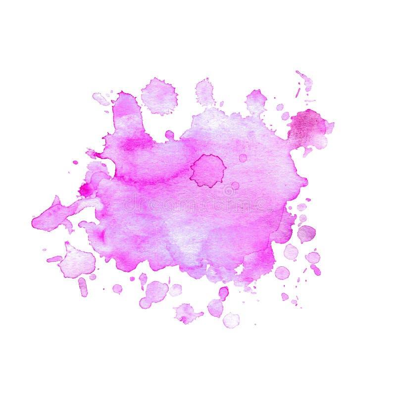 La mancha de la acuarela de la púrpura de neón con salpica ilustración del vector
