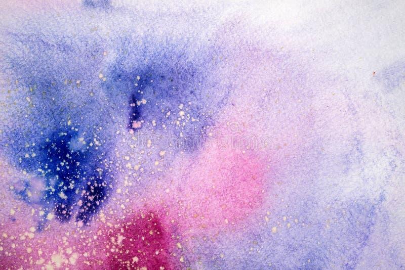 La mancha púrpura rosada azul de la acuarela gotea gotas Ejemplo abstracto del watercolour imágenes de archivo libres de regalías