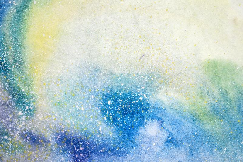 La mancha púrpura rosada azul de la acuarela gotea gotas Ejemplo abstracto del watercolour fotografía de archivo
