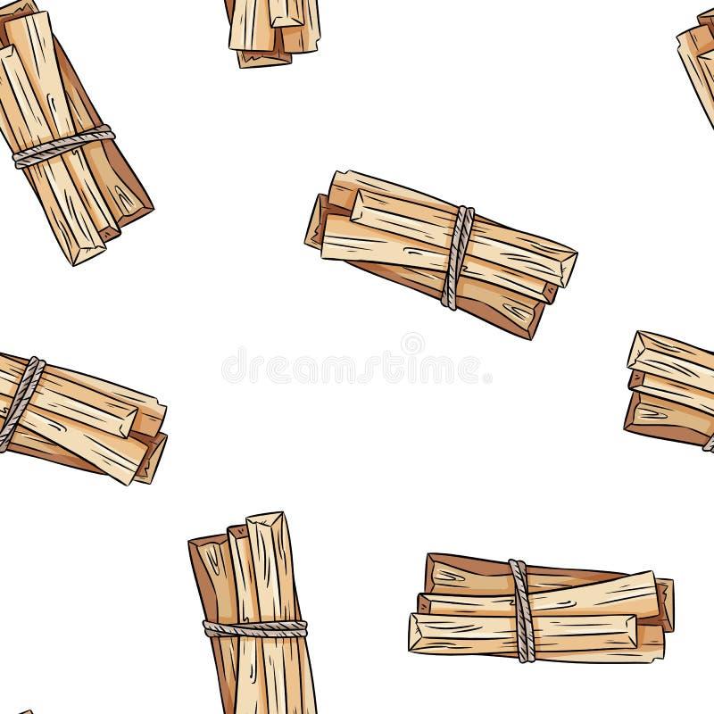 La mancha sabia pega el modelo incons?til del boho a mano Fondo de la textura del paquete de la hierba del santo de Palo stock de ilustración