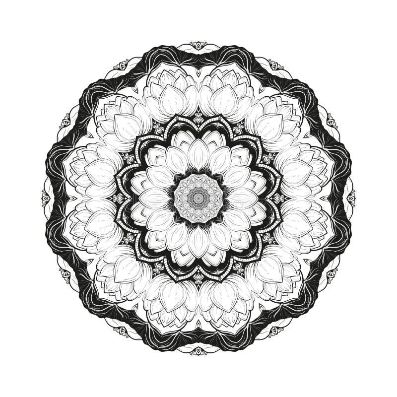 La mandala botánica monocromática del vector de la flor con el loto floreciente se aísla en un fondo blanco Página para colorear ilustración del vector