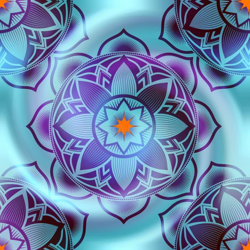 La mandala circonda il modello sul fondo di spirale della sfuocatura illustrazione vettoriale
