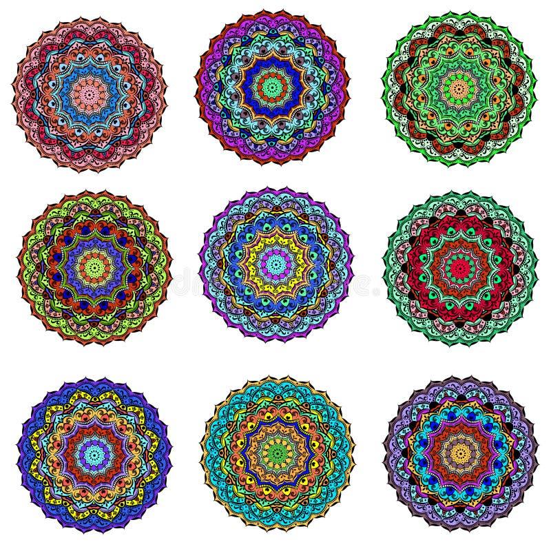 la mandala circular del ornamento del sistema coloreó Fondo ornamental ilustración del vector