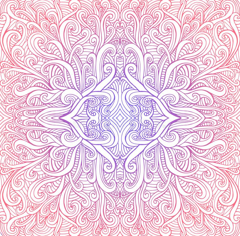 La mandala colorida psicodélica del vintage, ondas adorna el fondo Colores brillantes de la pendiente, fondo blanco aislado ilustración del vector