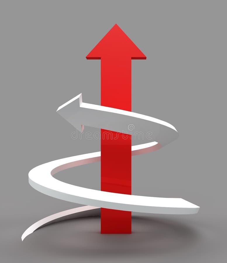 La manera roja del estrecho al éxito o a la victoria ilustración del vector
